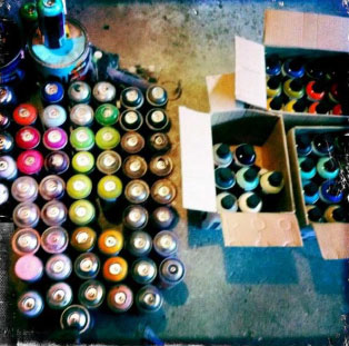 spraypaint cans